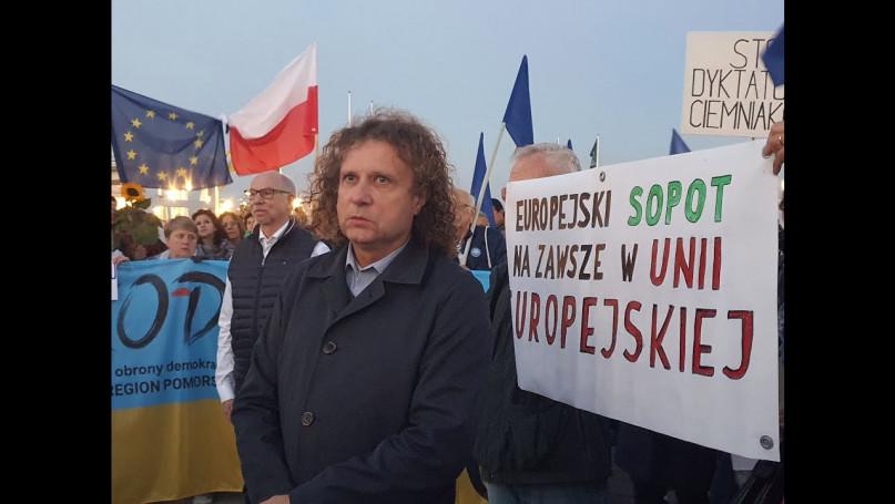 Protest przy molo w Sopocie